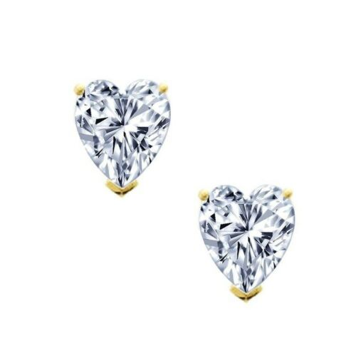 Heart Cut Stud Earrings 1.50 ct Solid 14k Yellow Gold Screw Back Jewelry for Her