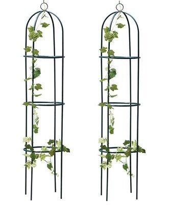 2 X Obelisco Da Giardino 1.9m Metallo Pianta Rampicante Rosa Telaio Di Supporto Traliccio All'aperto- Il Massimo Della Convenienza