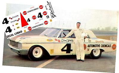 CD/_1775 #4 Don White Zecol Lubaid  1962 Ford  1:64 Scale Decals  ~OVERSTOCK~
