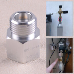 T21-4 to W21.8-14 Adapter Converter fit for Home Brew SodaStream Silver Aluminum