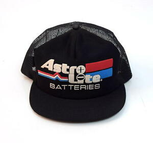 Image Is Loading Vtg Astro Lite Batteries Black Mesh Snap Back