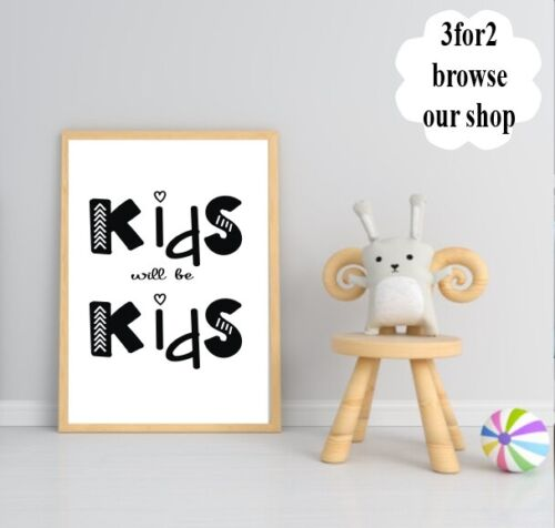 Wall Quote Print Nursery Scandi Boys Rule Lion Baby Kids Family Gift *3for2*