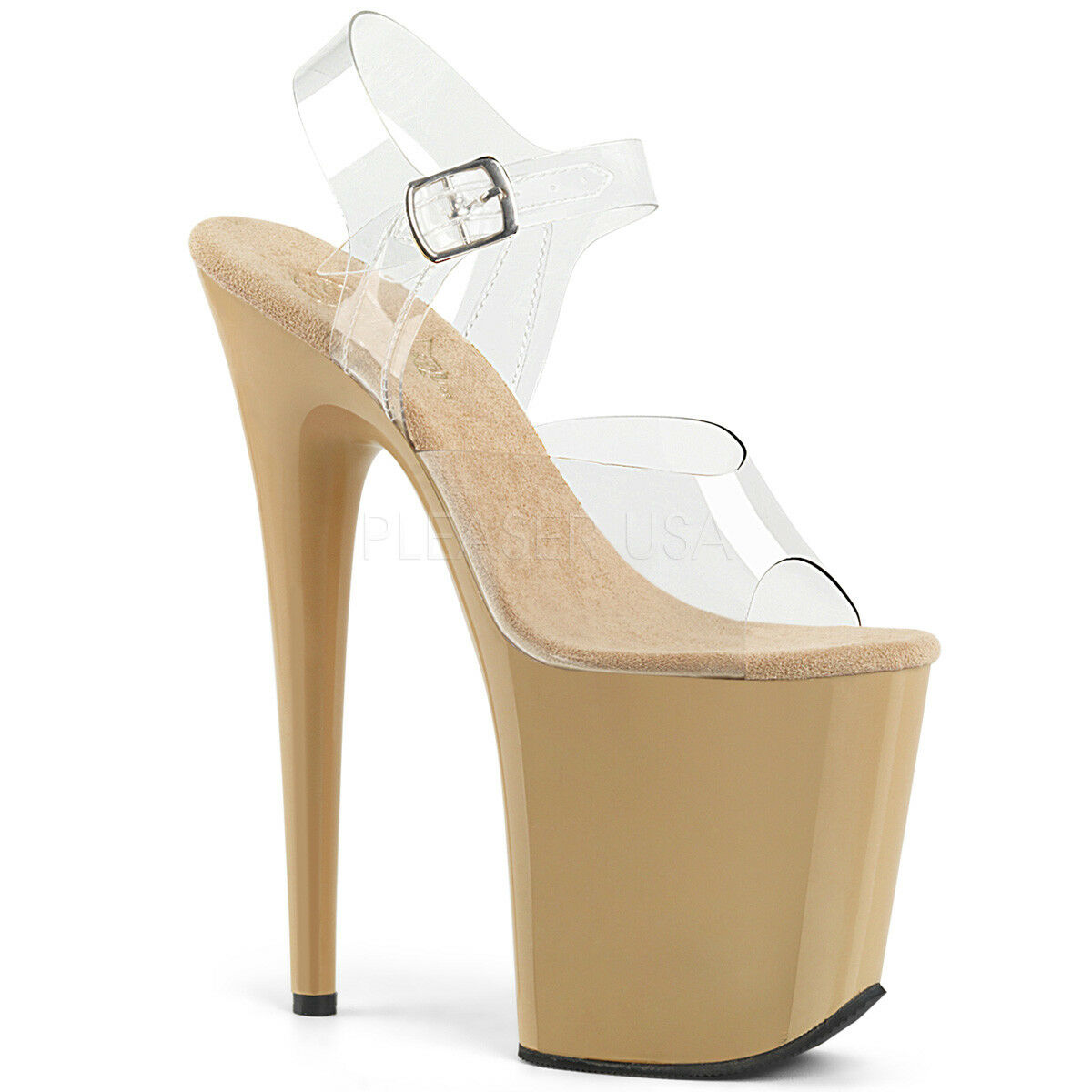 PLEASER Sexy 8  Heel Cream Tan Tall Platform Stripper Dancer Pole Clear shoes