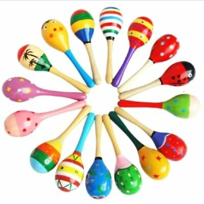 Wooden Maraca Wood Rattles Kids Musical Party favor Child Baby shaker Toy Nice