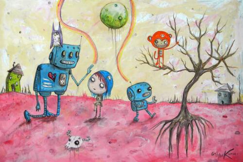 GUS FINK Art Artist Outsider folk robots lowbrow pop Surreal Fantasy SOFT HOME
