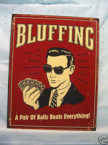 Poker Cards Novelty Tin Metal Sign Hold Em Bar Bluffing Pair of Balls