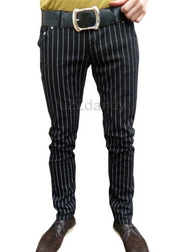 Jeans skinny Drainpipe Pantaloni Vintage 60s Indie Uomini Mod Pin Stripe Nero Hipster