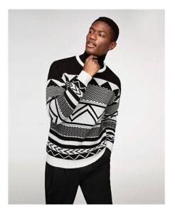Zara-Shiny-Jacquard-sweater-ecru-black-silver-aztec-round-neck-jumper-medium