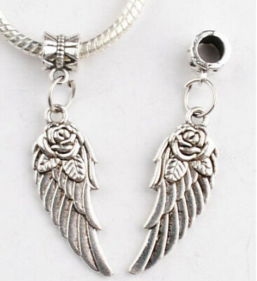 New Chic 10Pcs Silver Angel Wing Tibetan Charm Bead Fit DIY Hand Making Bracelet