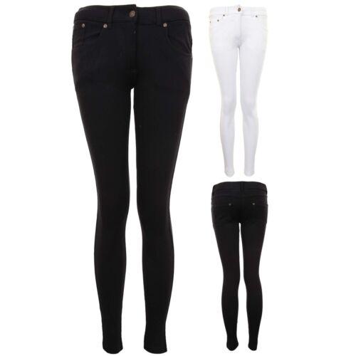 Ladies Regular Stretch Plain Zipper Button Skinny Slim Fit Jeggings Trousers