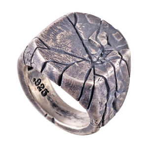3D-Print-Stainless-Steel-925-Sterling-Silver-Plated-Rock-Effect-Men-039-s-Ring-M126