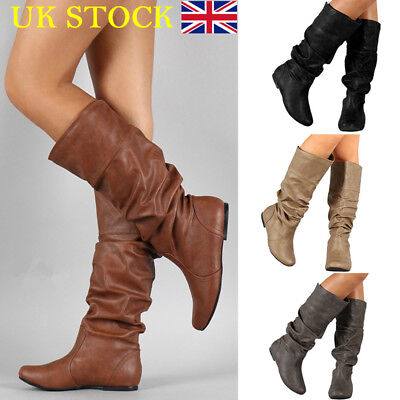 01920772704fd Details about UK Womens Winter Leather Flat Knee High Boots Ladies Riding  Biker Shoes Size