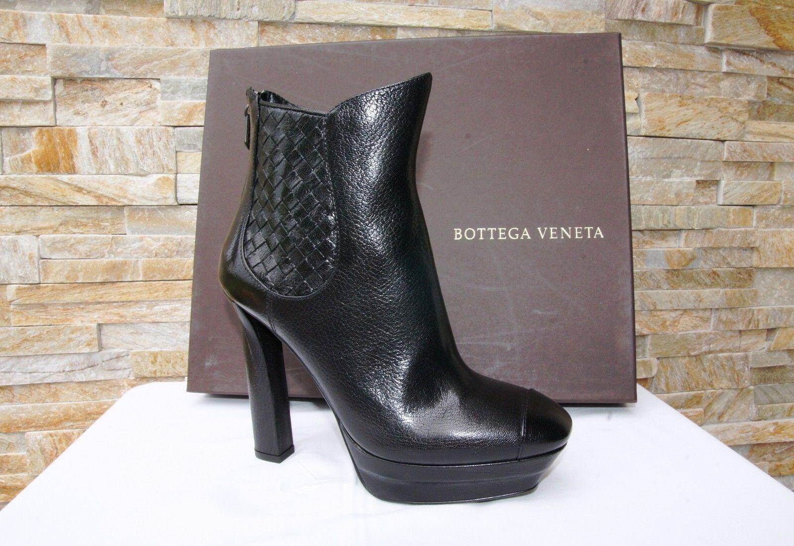 BOTTEGA VENETA 38 Stiefeletten Stiefeletten Stiefeletten Plateau Stiefelies Schuhe schwarz neu ehem   53740d