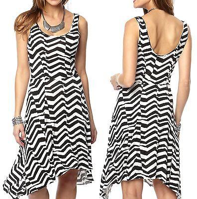 Size 6 - 26 Ladies Striped Stretchy Summer Dresses Plus Sizes Black White