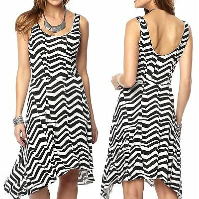 Size 6 - 20 Ladies Striped Stretchy Summer Dresses Plus Sizes Black White