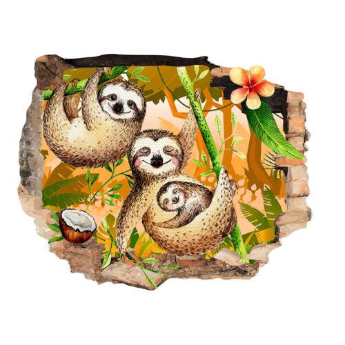 J032 Sloth Bears Baby Kids Jungle Wall Stickers Bedroom Girls Boys Kids Room