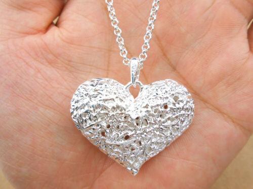 925 Sterling Silver Plating Femmes Fashion Big vide Coeur Collier Pendentif