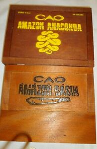 CAO-AMAZON-Wooden-Cigar-Boxes-Empty-lot-of-2-Lot-256