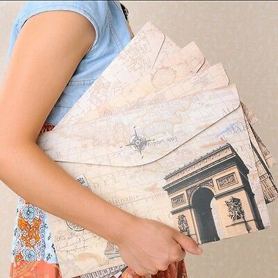 """""""Europe Story"""" File Folder Pack of 4 Cute One Layer A4 Study Papers Document Bag"""