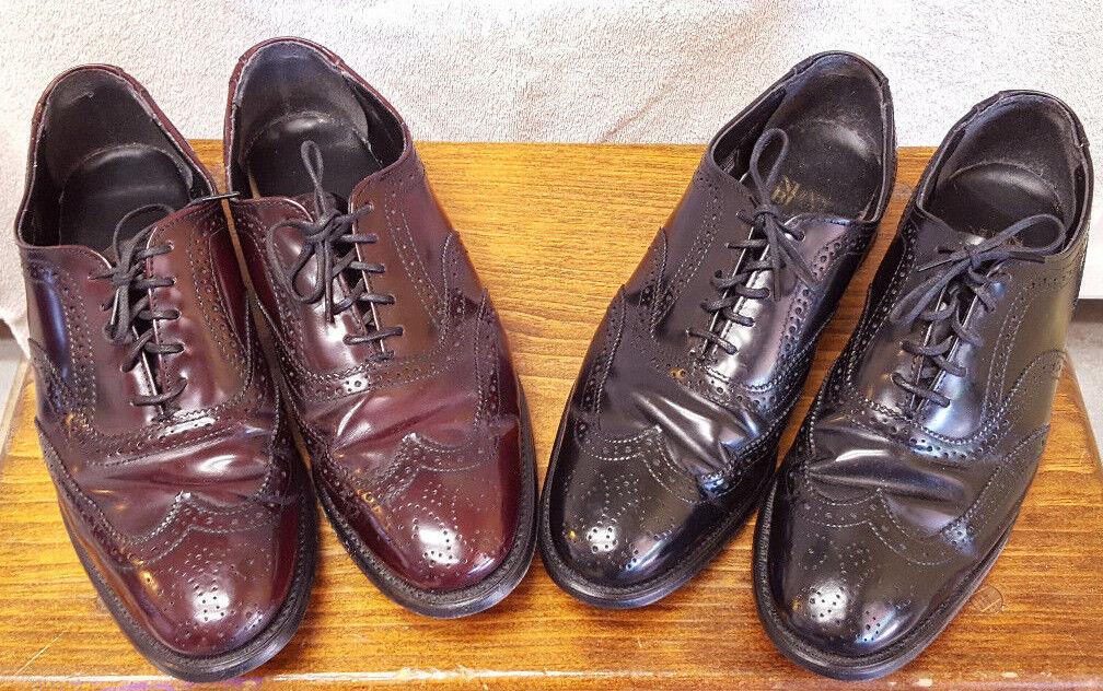 2 Pair Nunn Bush Wing Tips-Burgandy & Black-Men's shoes Size 8.5-Leather-Shiny...