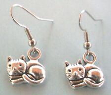 Boucles d'oreilles argentées chat