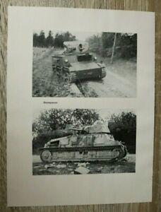 Blatt-Bilder-Beutepanzer-1940-Panzer-Technik-Ort-Strasse-zerstoert-2-WK-WWII
