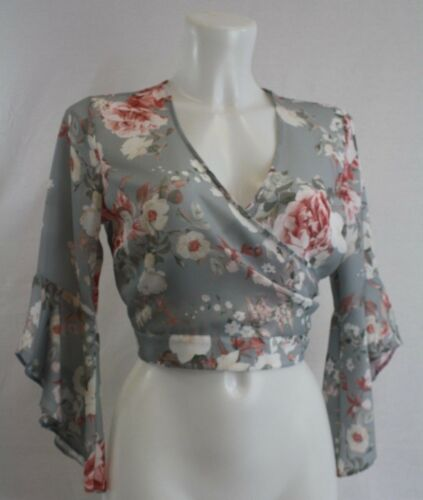 Ladies new ex river island grey blouse with tie back size  8 10 12 14