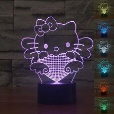 7colors Change 3D LED bulbing illusion Bedroom nightLight Desk Lamp Hello kitty