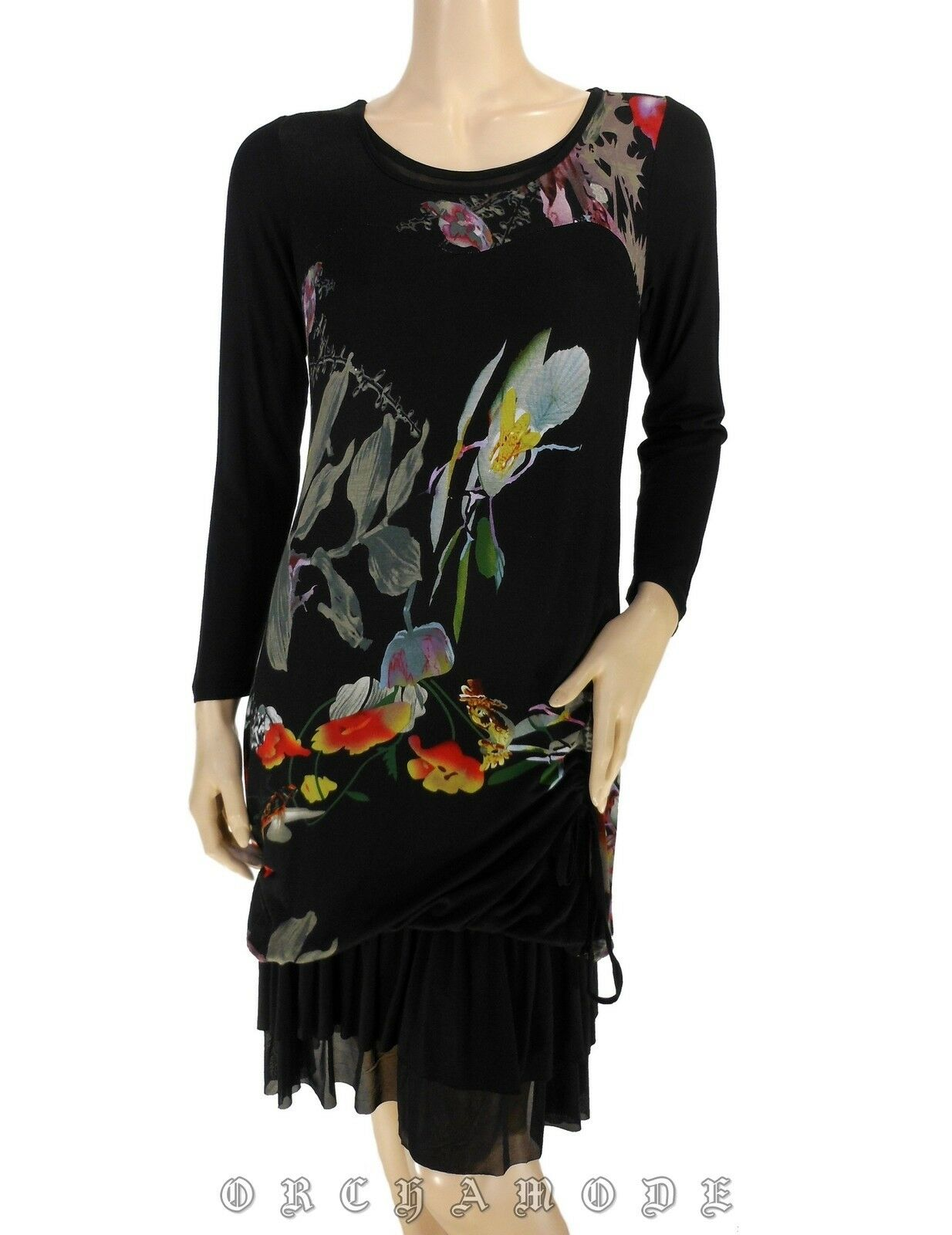 Robe ELLEA T 38 M 2 schwarz Floral Volants Tunique Printemps NEUF Dress Kleid Abido