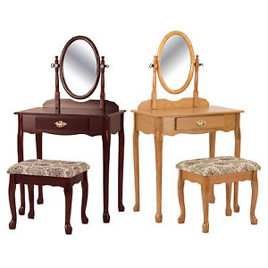 Queen Anne Cherry Oak Swivel Oval Mirror Bathroom Makeup Table Stool Vanity Set