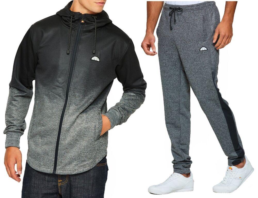 Ellesse Homme Sportwear Track Top Sweat à Capuche, Ou Jogging Pantalon Gris Mix Match Costume