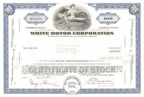White Motor Corporation Stock Certificate