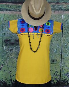 Gold & Blue Hand Embroidery Mayan Huipil Chiapas Mexico Hippie Cowgirl Peasant