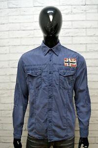 Camicia-Blu-Uomo-NAPAPIJRI-Taglia-L-Maglia-Polo-Manica-Lunga-Shirt-Men-039-s-Casual