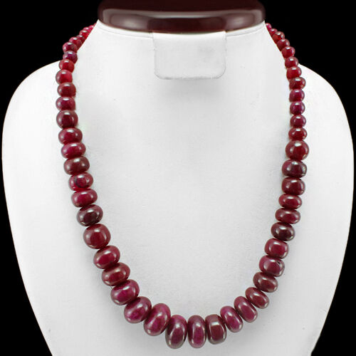 Outstanding élégant 523.00 cts Natural Round Red Ruby Beads Collier Strand