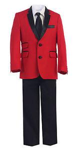 Boys Toddler Kid Teen 4pc Formal Premium Tuxedo Suit SLIM FIT sz 2-20 Black/RED
