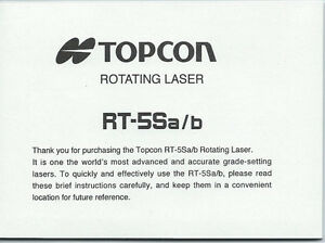Topcon Rotating Laser RT-5Sa/b Instruction Manual