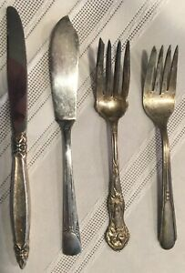 Vintage-Silverplate-Flatware-Lot-of-4-Pieces