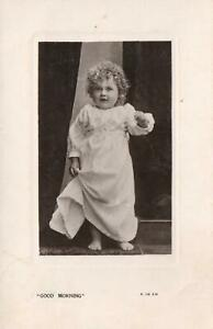 VINTAGE BEAGLES REAL PHOTO CUTE BABY GIRL in WHITE NIGHTDRESS POSTCARD Balranald