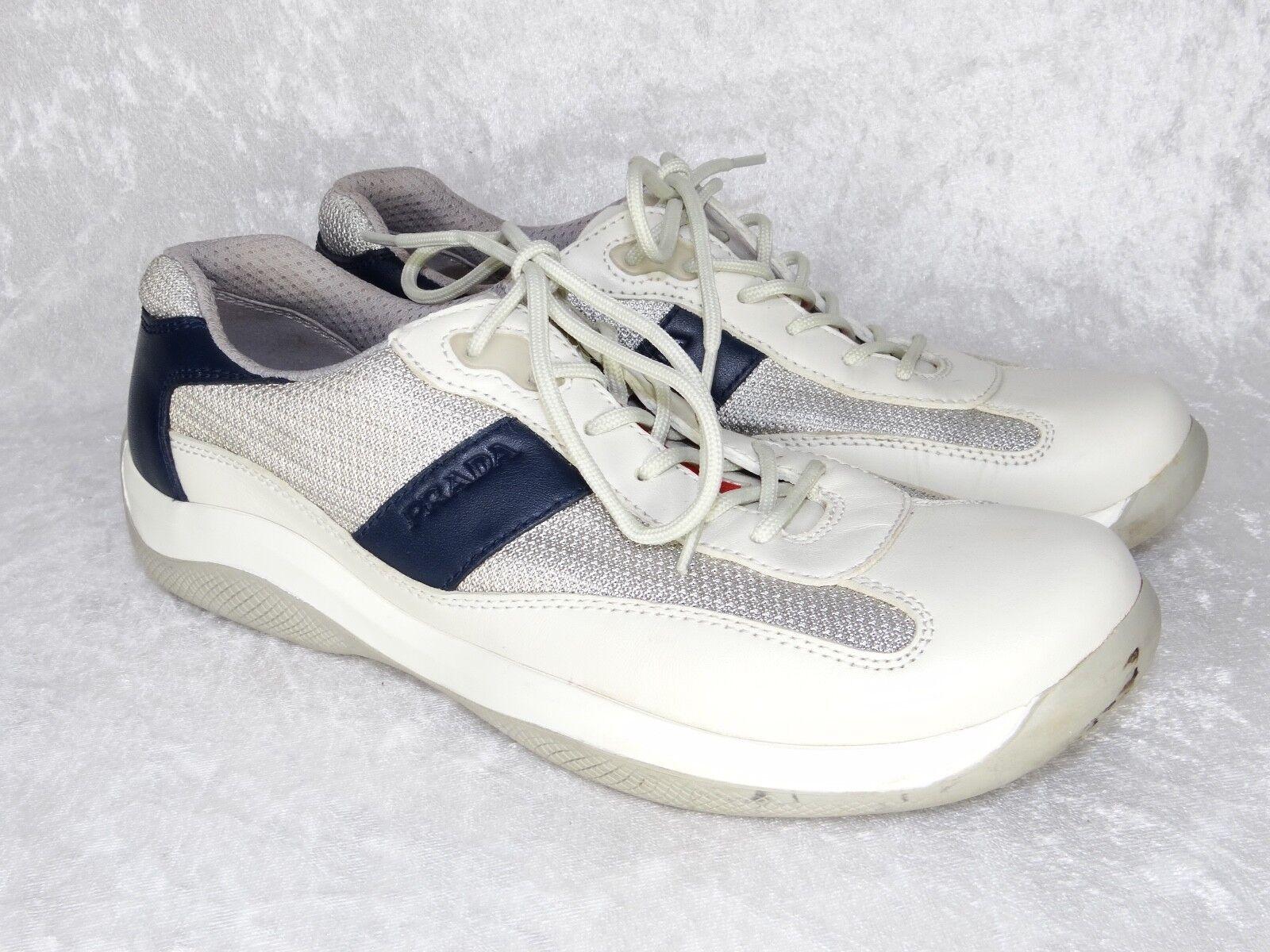 Vintage Prada Sport Training 39.5 womens 9.5 sneakers Off White Blue Silver Mesh