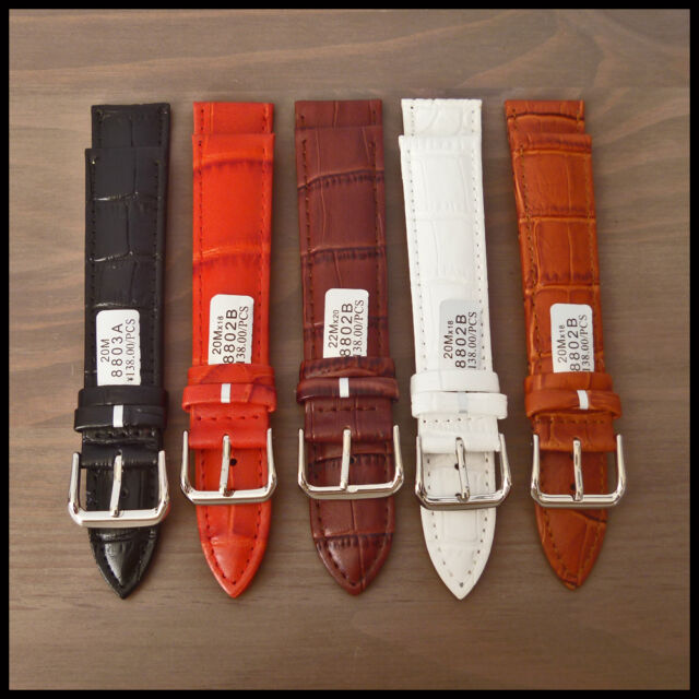 BNIB Croco-Grain Leather Watch Strap & S/S Prongue Buckle Many Colours & Sizes