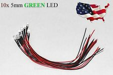10x Green Pre-Wired 12V 5MM LED Round Ultra-Clear Lens Bulb 12V Green - USA