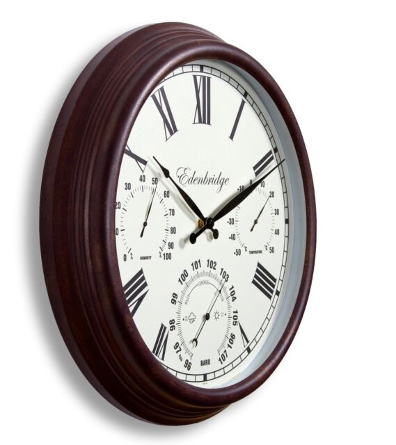 Outdoor Garden Wall Clock Thermometer Humidity Meter Barometer 38cm rust colour