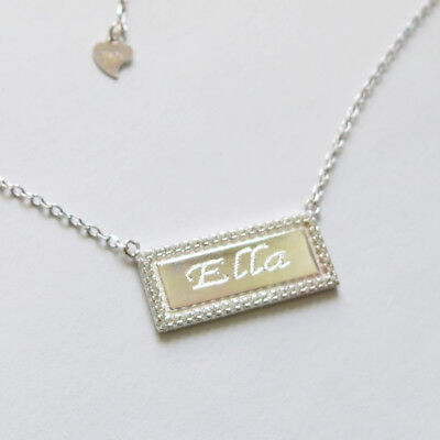 925 Sterling Silver Personalized Gold Bar Necklace Engraved Name Plate Necklace
