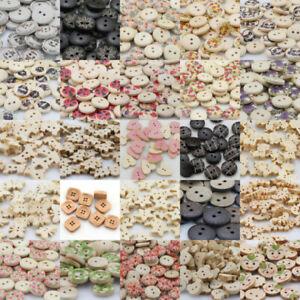 Wood-Lot-Shape-Handmade-2-4-Holes-Wooden-Buttons-Sewing-Scrapbooking-DIY-Gift