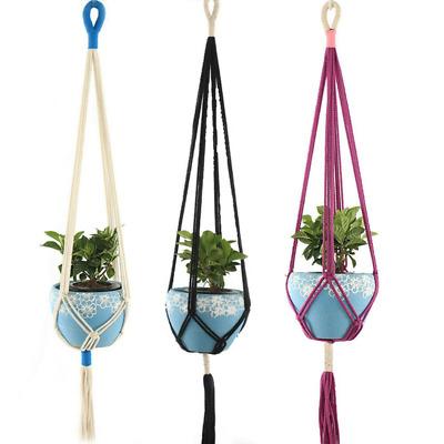 Macrame Plant Flower Hanger Vintage Cotton Rope Hanging Basket Pot Holder 1pc