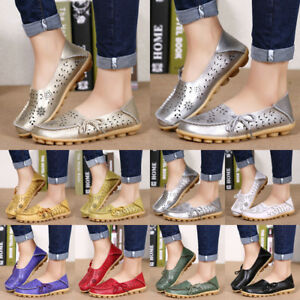 Women-039-s-Casual-Loafers-Leather-Shoes-Lady-Flats-Slip-On-Moccasin-Single-Shoes