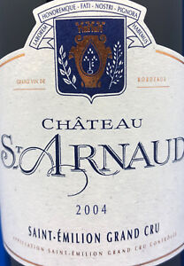 12 Fl, 2004,75 Cl, Grand Cru, 12,5%, Chateau St-arnaud Saint-Émilion, Rare-afficher Le Titre D'origine Garantie 100%