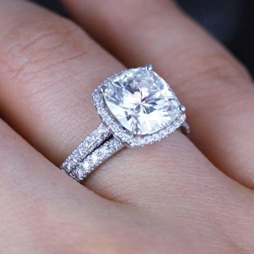 Certified 2.45ct White Cushion Cut Diamond 14K W gold Engagement Bridal Ring Set
