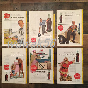 1954-COMPLETE-Set-of-6-NATIONAL-GEOGRAPHIC-MAGAZINE-COCA-COLA-COKE-ADS
